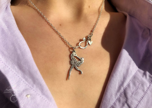 seahorse jewellery - handmade and Recycled silver Florin coin seahorses in love necklace.