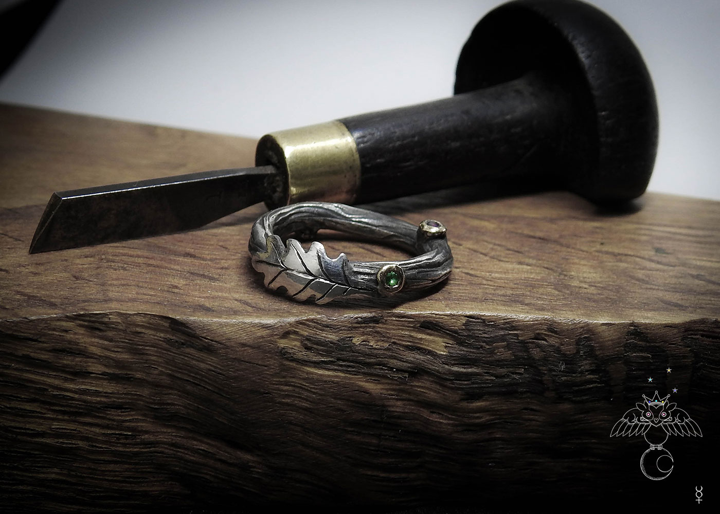 Oak tree ring - Recycled silver coins and fork