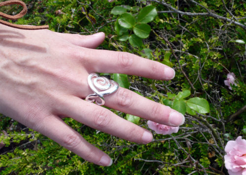 Handcrafted and recycled fork ring