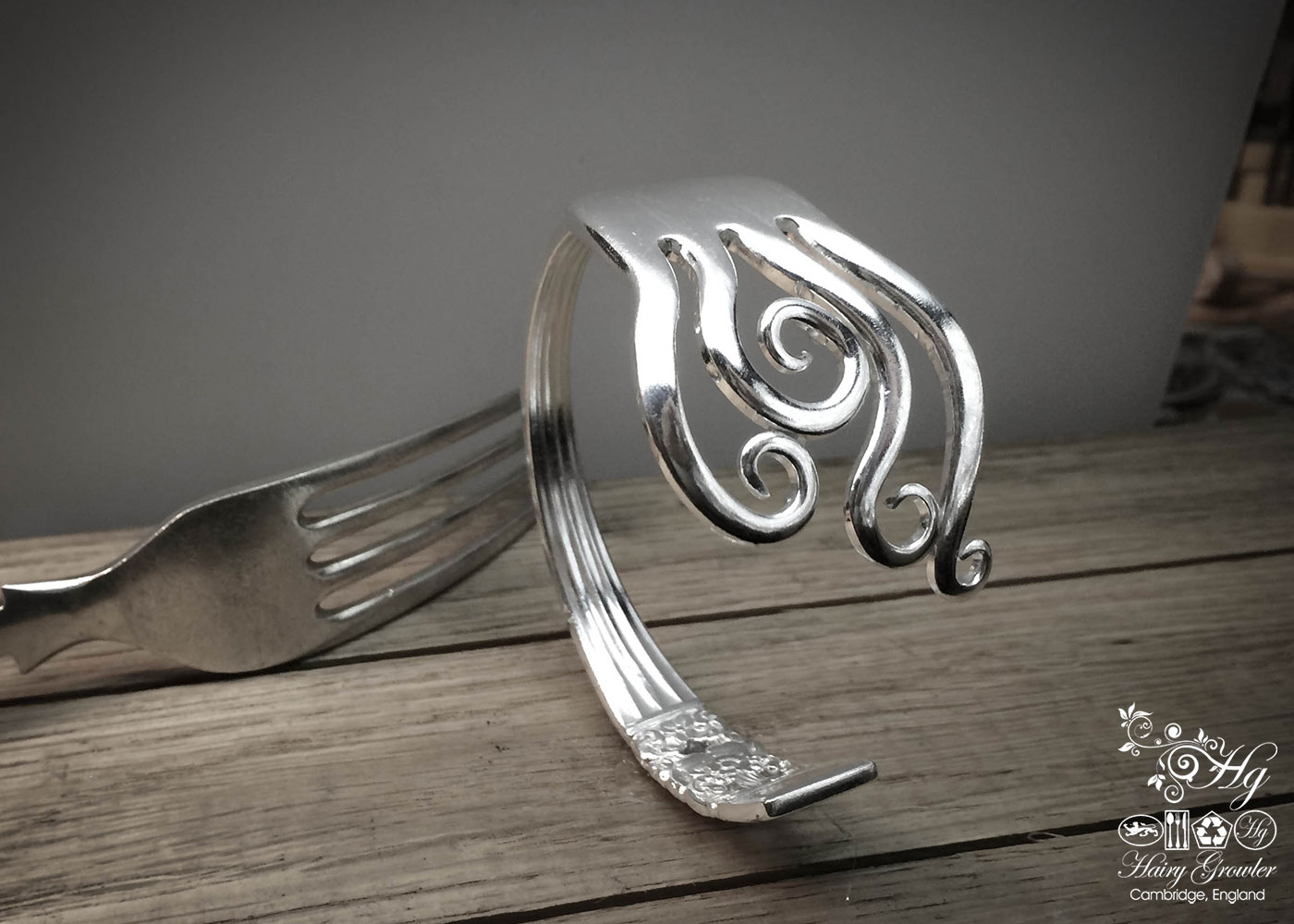 Handmade and recycled fork bangle