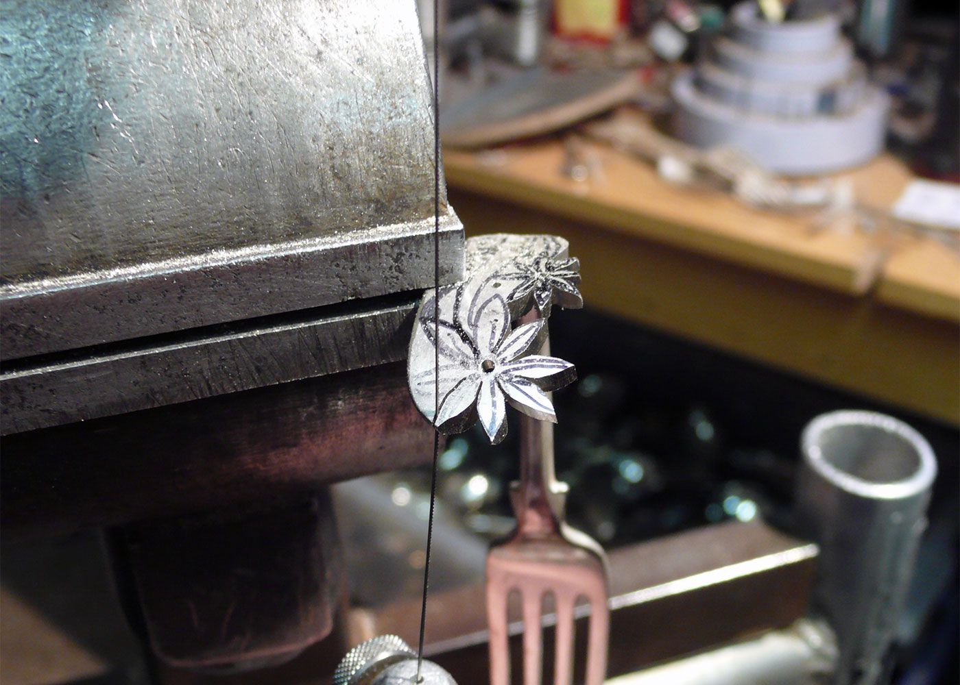 handcrafted and recycled fork flower bracelet