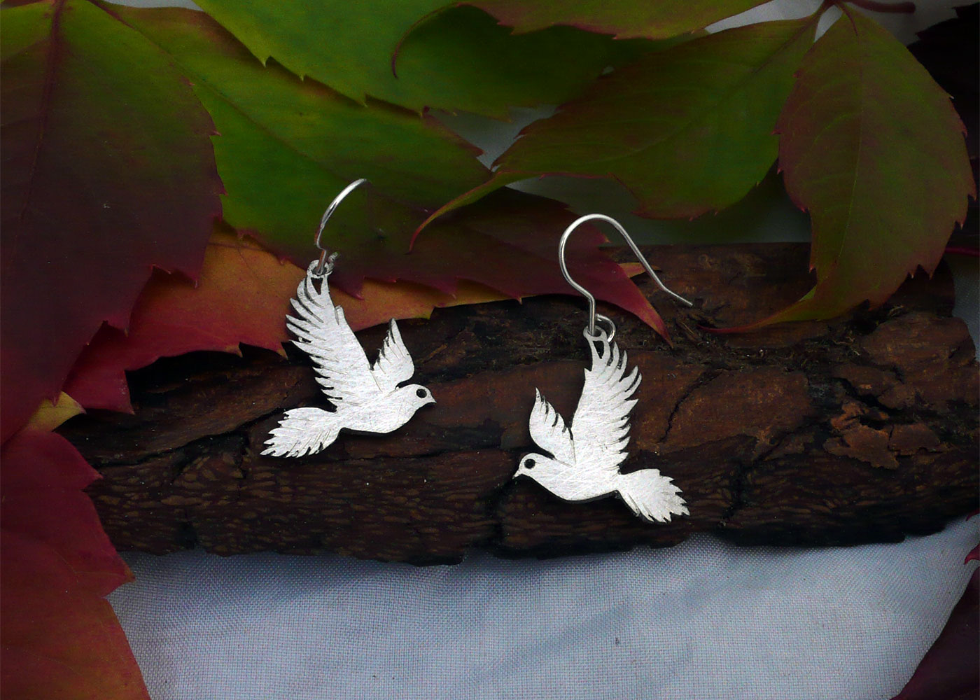Free as a bird recycled spoon earrings