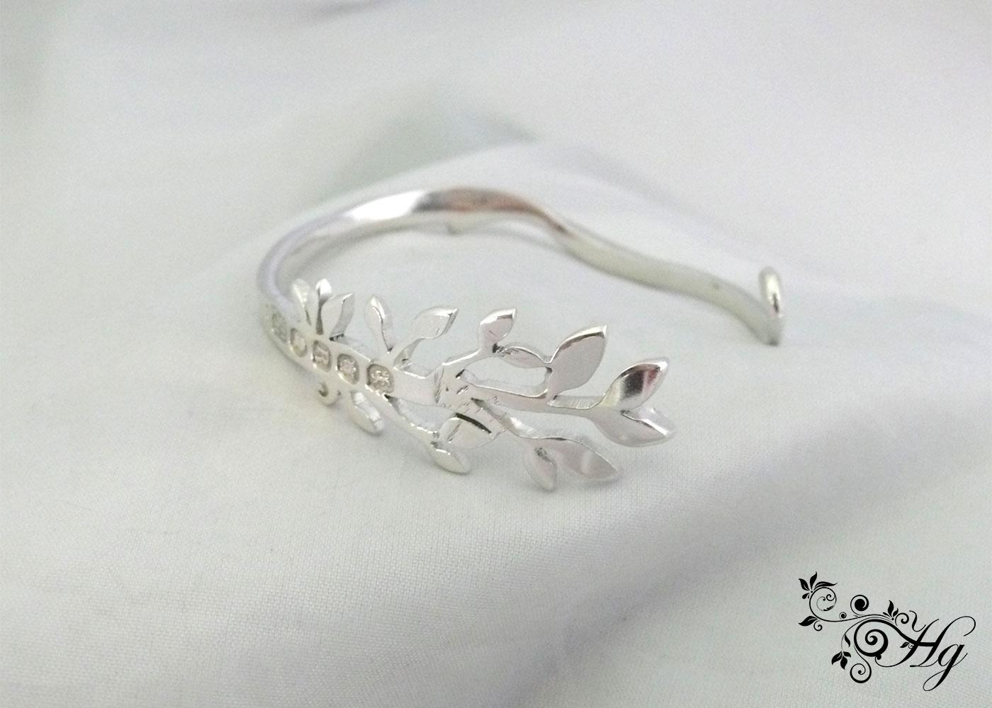handmade victorian sterling silver fork - green leaves bracelet