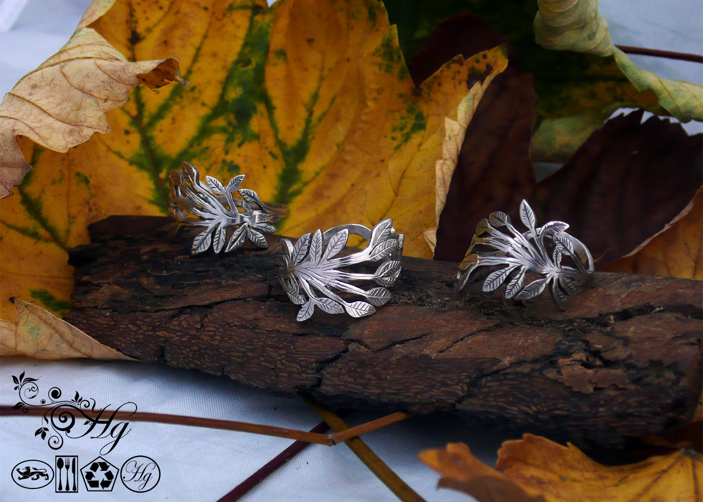 Green leaves handcrafted and recycled ring