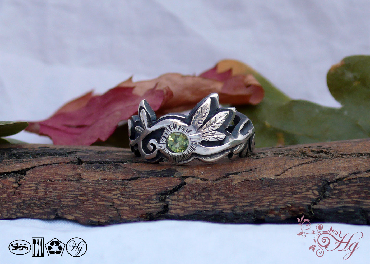 peridot and recycled silver ring