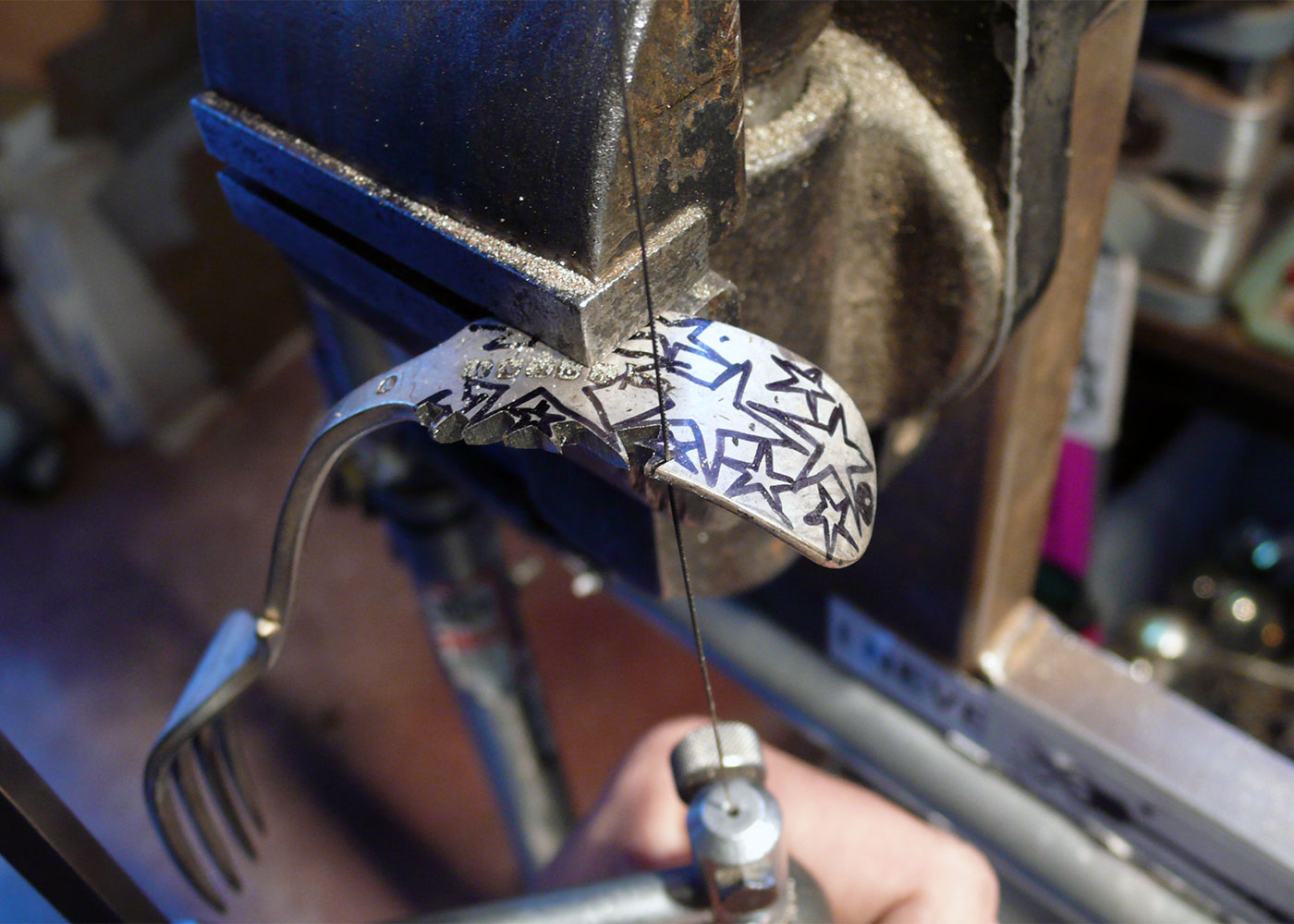repurposed and upcycled fork star rings made in the Hairy Growler workshop