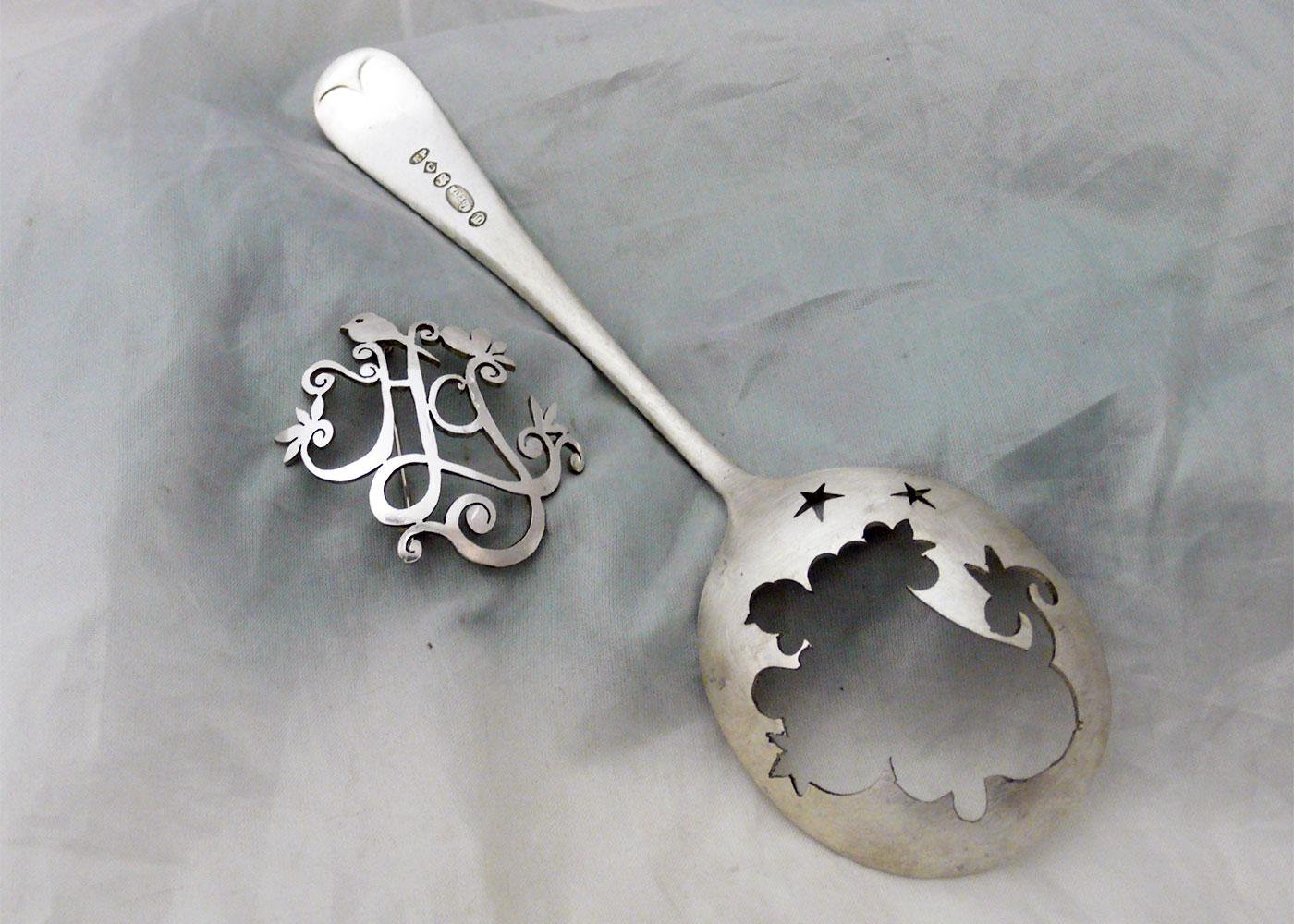 Tweet brooch - handmade and upcycled cutlery