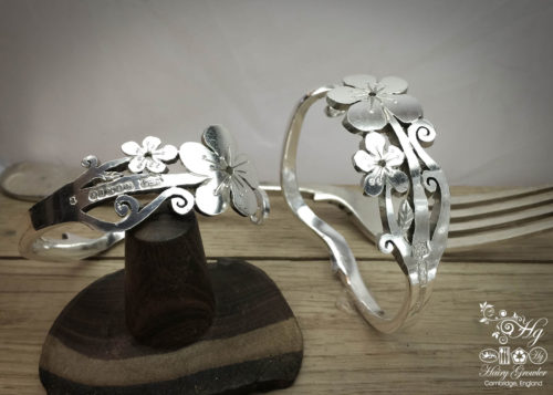handmade and upcycled fork flower bracelet