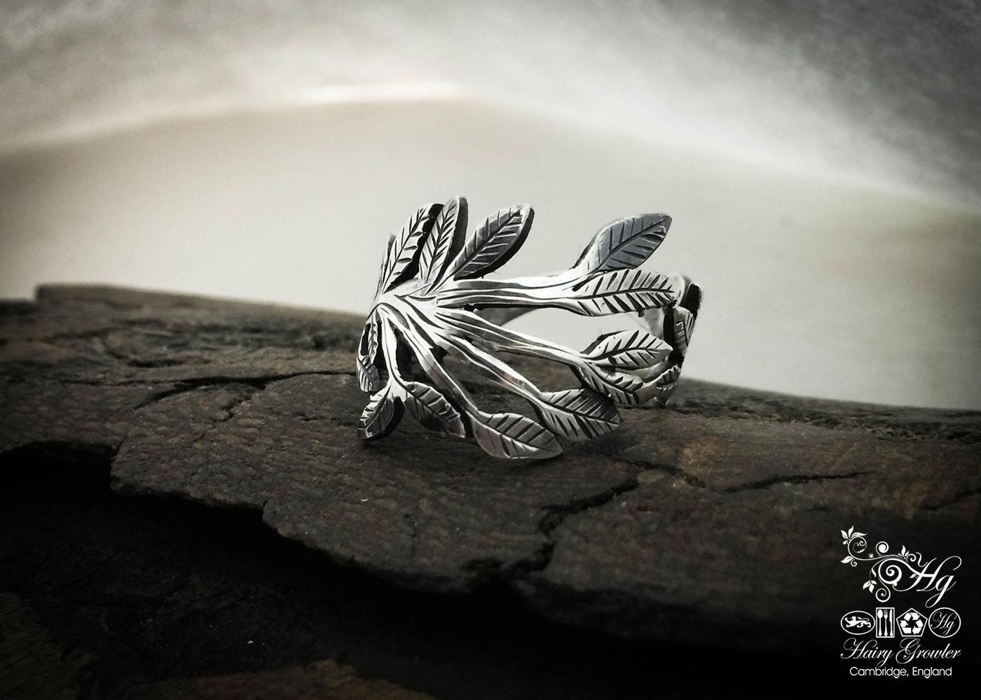 Handmade and repurposed silver cutlery green leaves rings