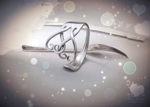 handmade upcycled silver fork bracelet bangle