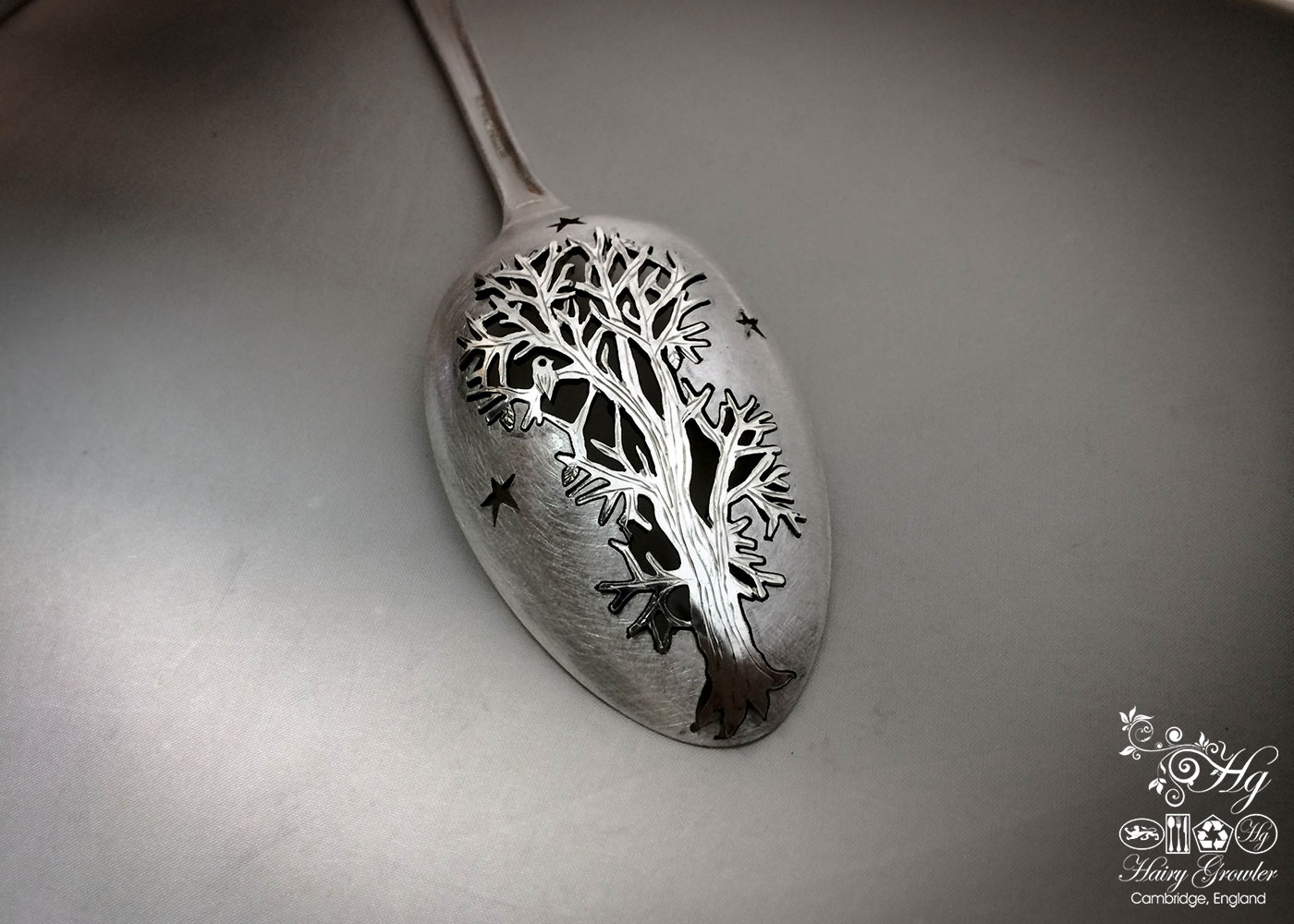 Upcycled antique spoon handcrafted autumn Oak tree brooch