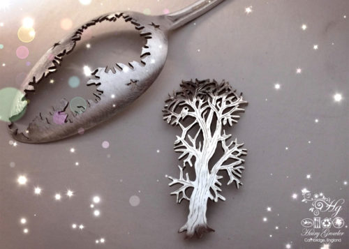 Recycled antique spoon handmade autumn Oak tree brooch