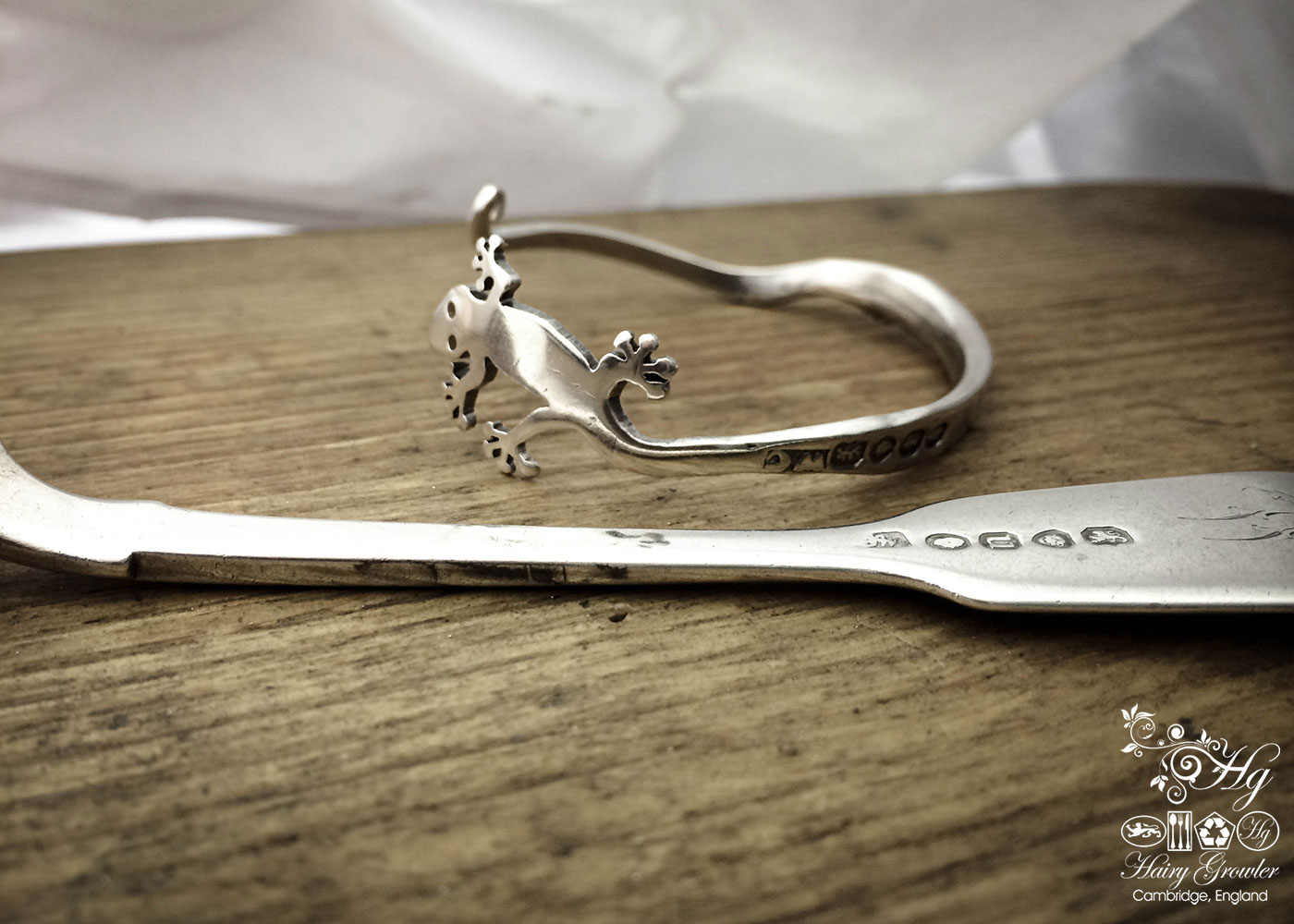 handcrafted, recycled and repurposed fork gecko bracelet bangle