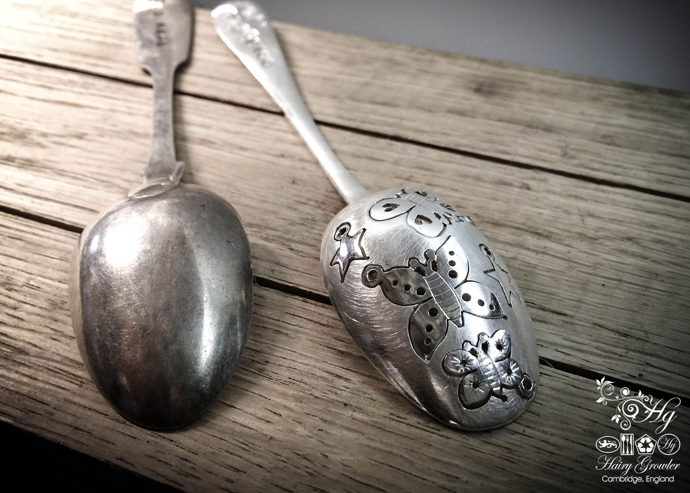 recycled, upcycled sterling silver flatware Victorian teaspoon butterfly earrings
