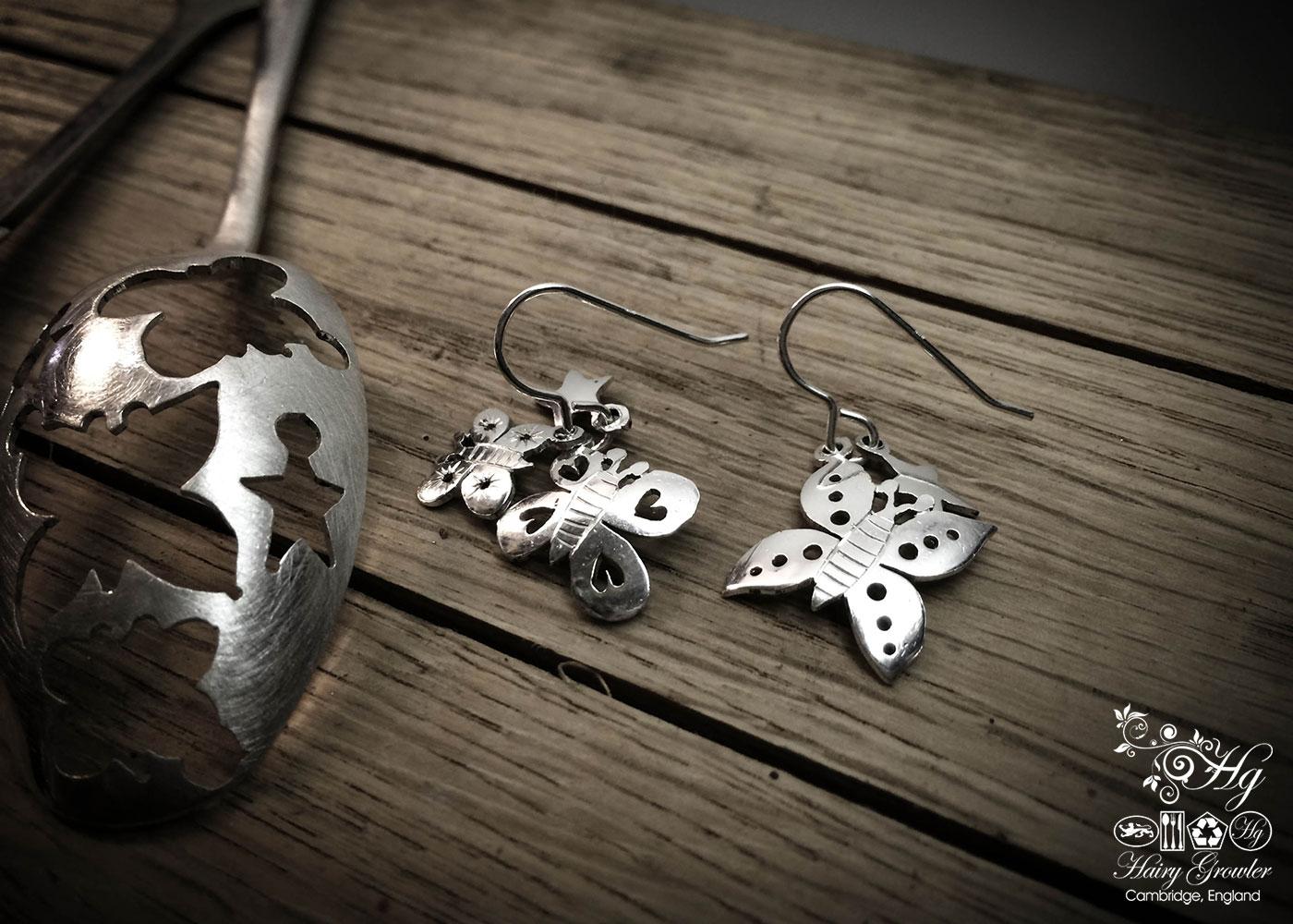 Sterling silver Victorian teaspoon butterfly earrings