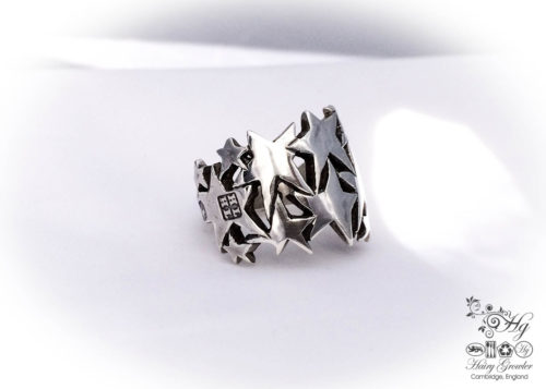 handcrafted and recycled sterling silver flatware spoon fork handle star ring