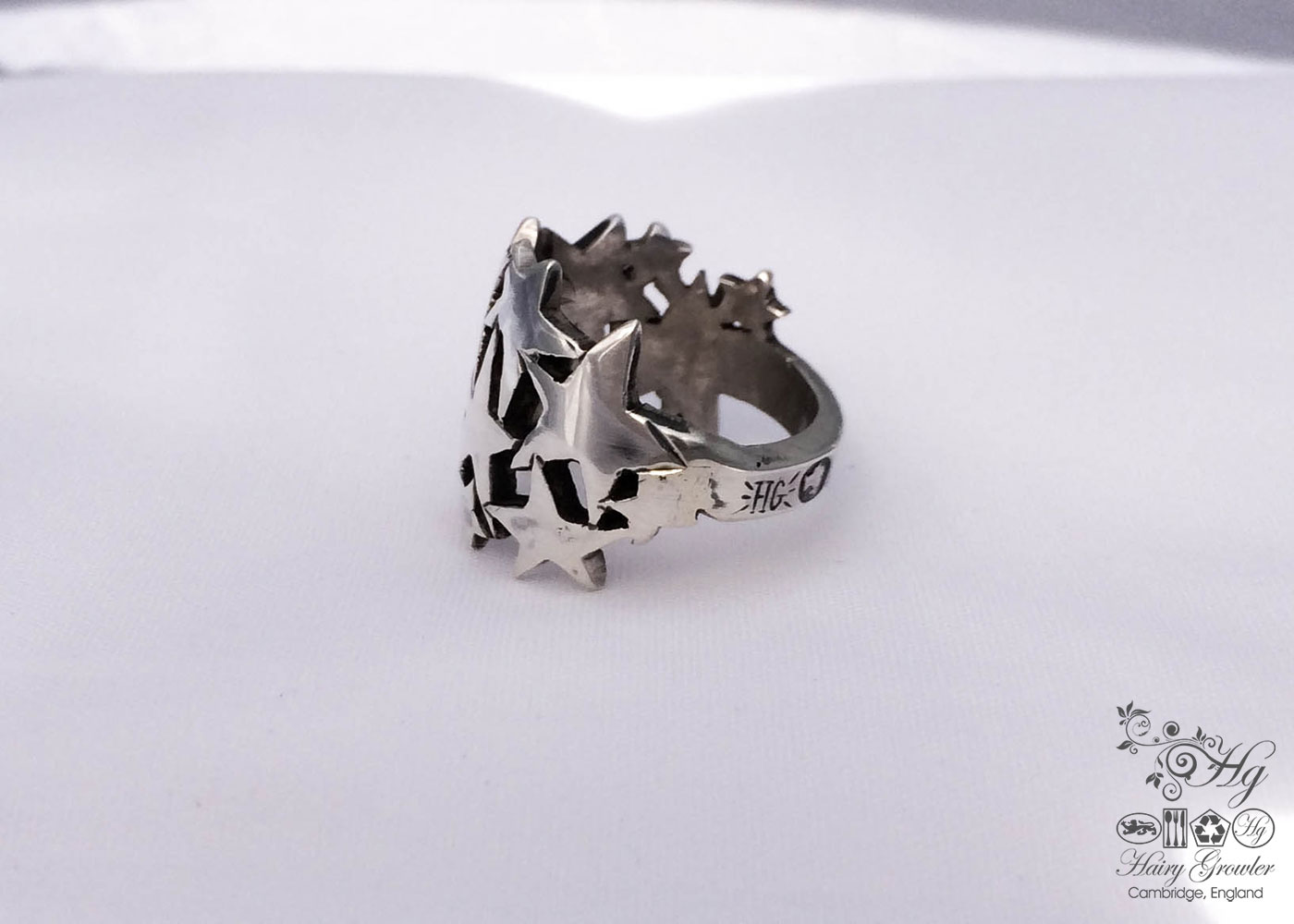 Whimsical, unique and original recycled silver starburst rings