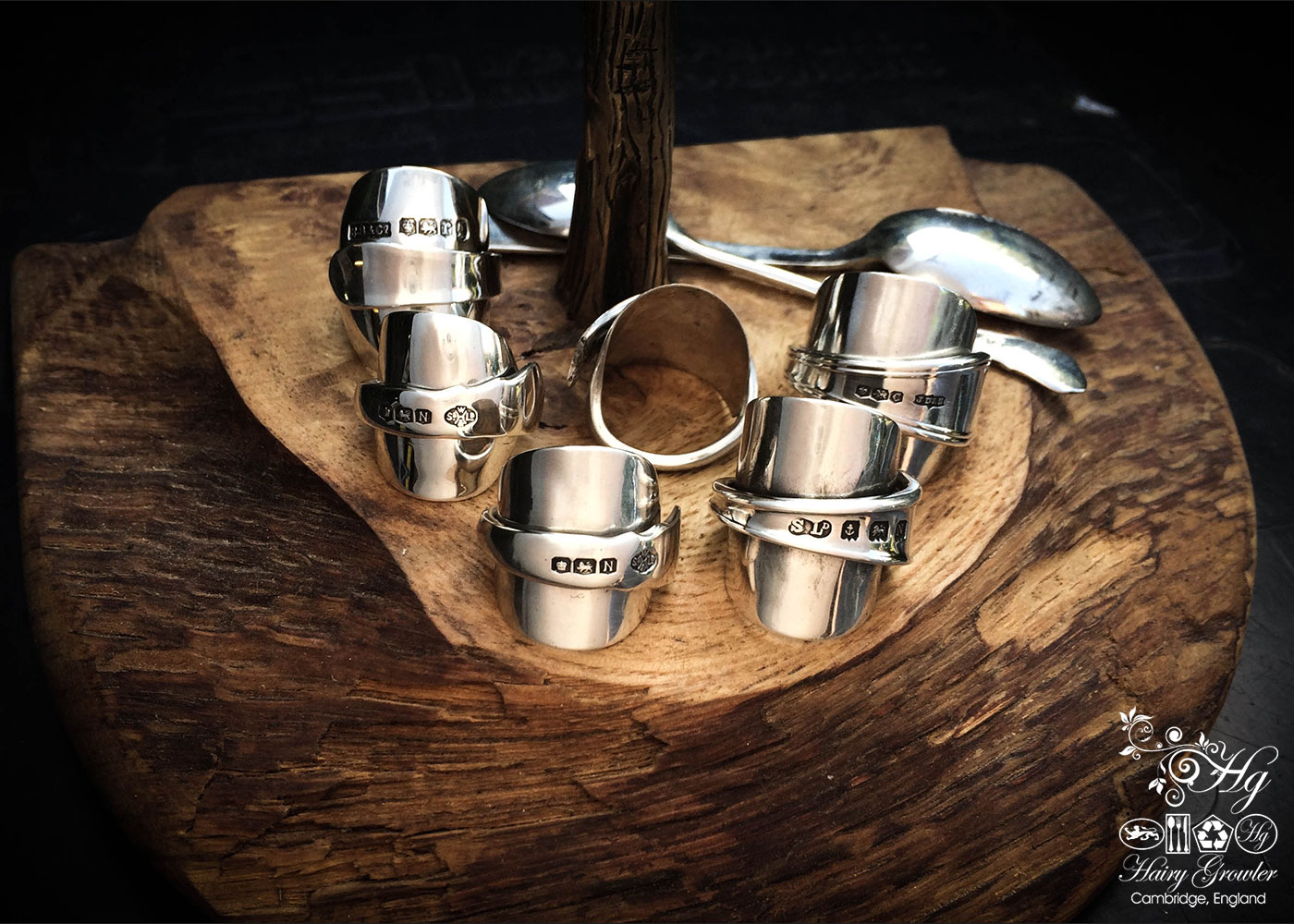 handcrafted and recycled teaspoon and demitasse coffee spoon rings