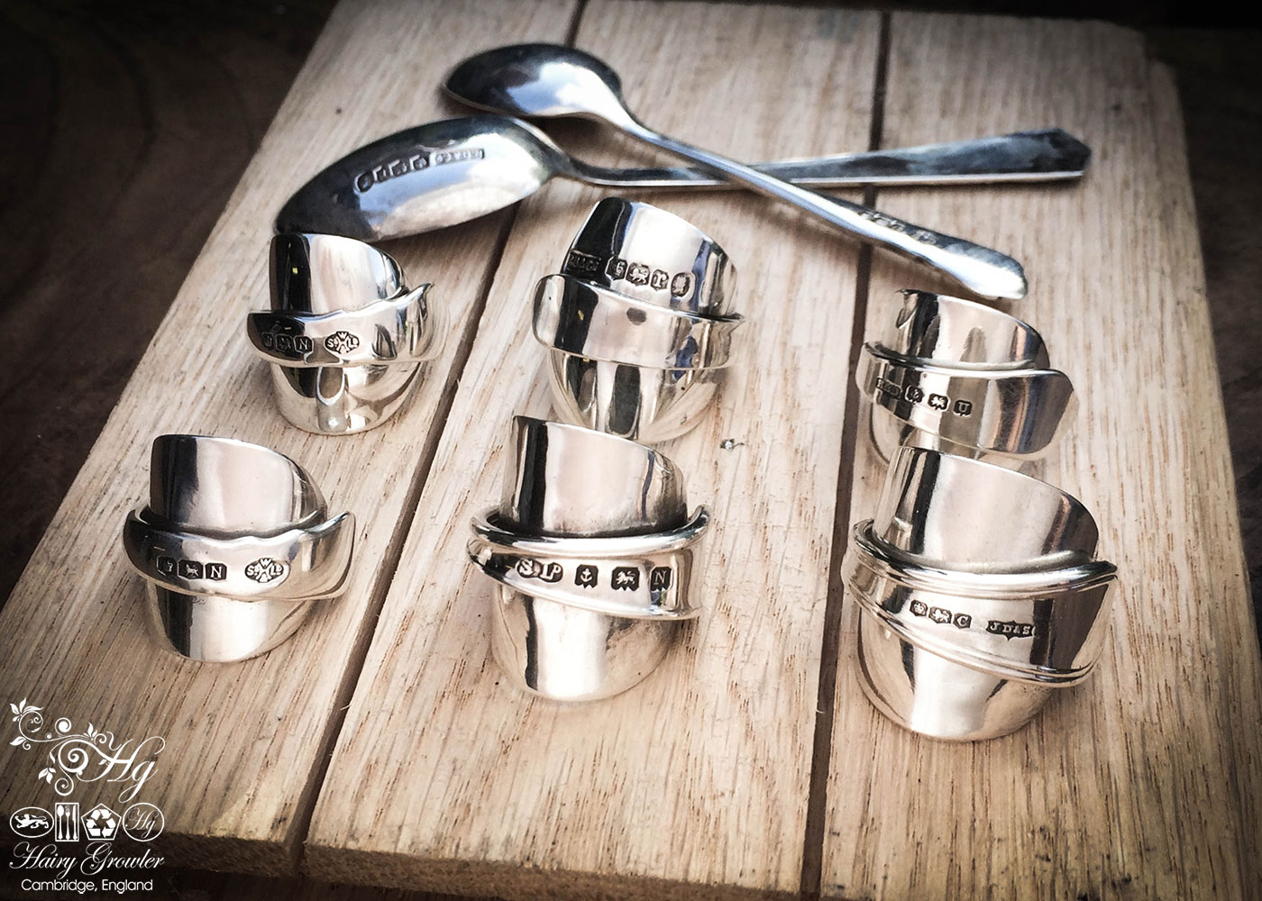 handmade and upcycled teaspoon and demitasse coffee spoon rings