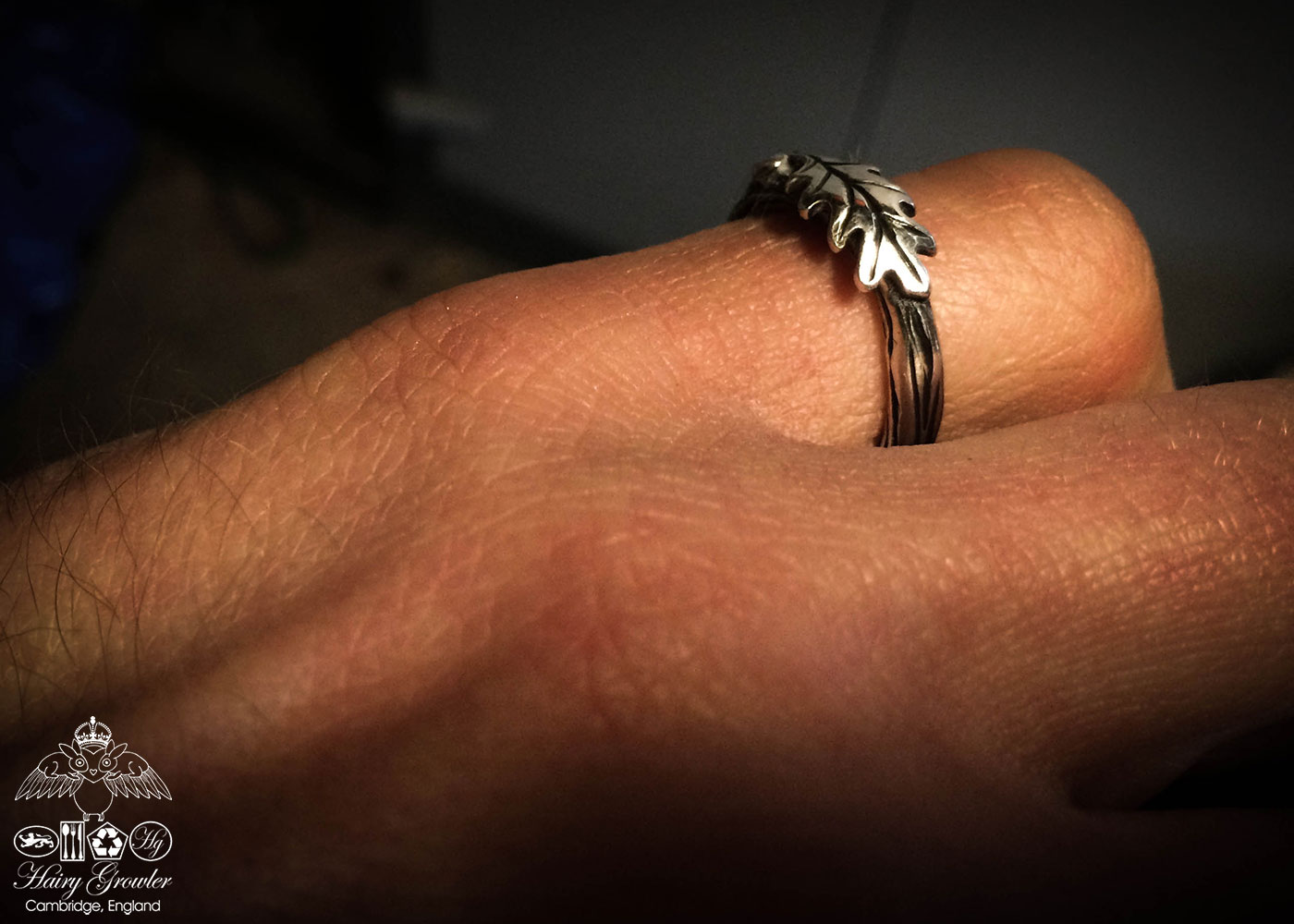 oak leaf and branch ring handcrafted and recycled silver
