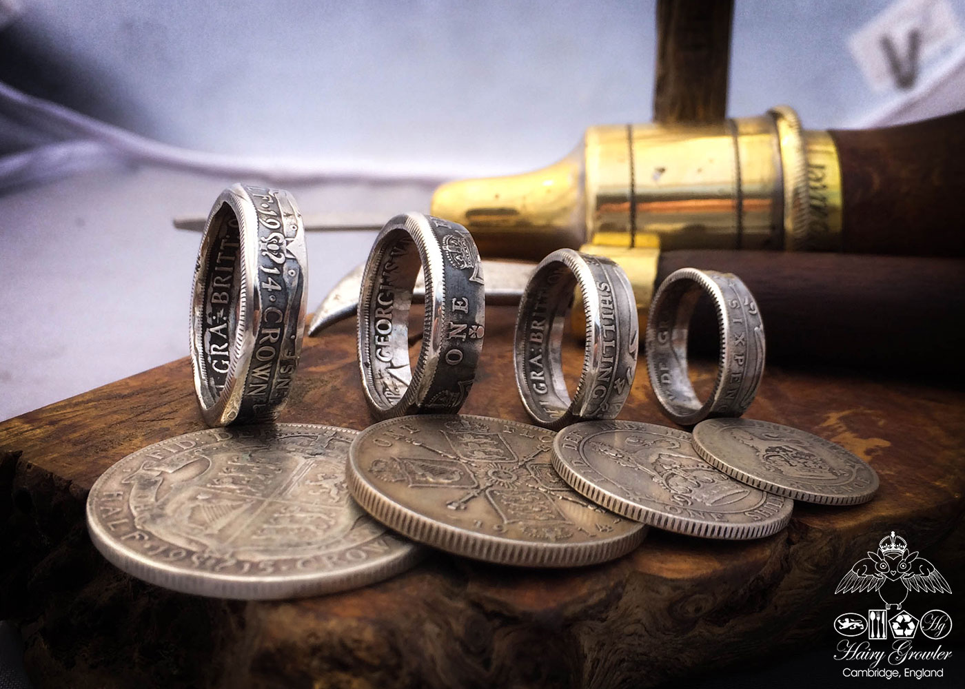 Handmade and recycled silver coin rings - oxidised