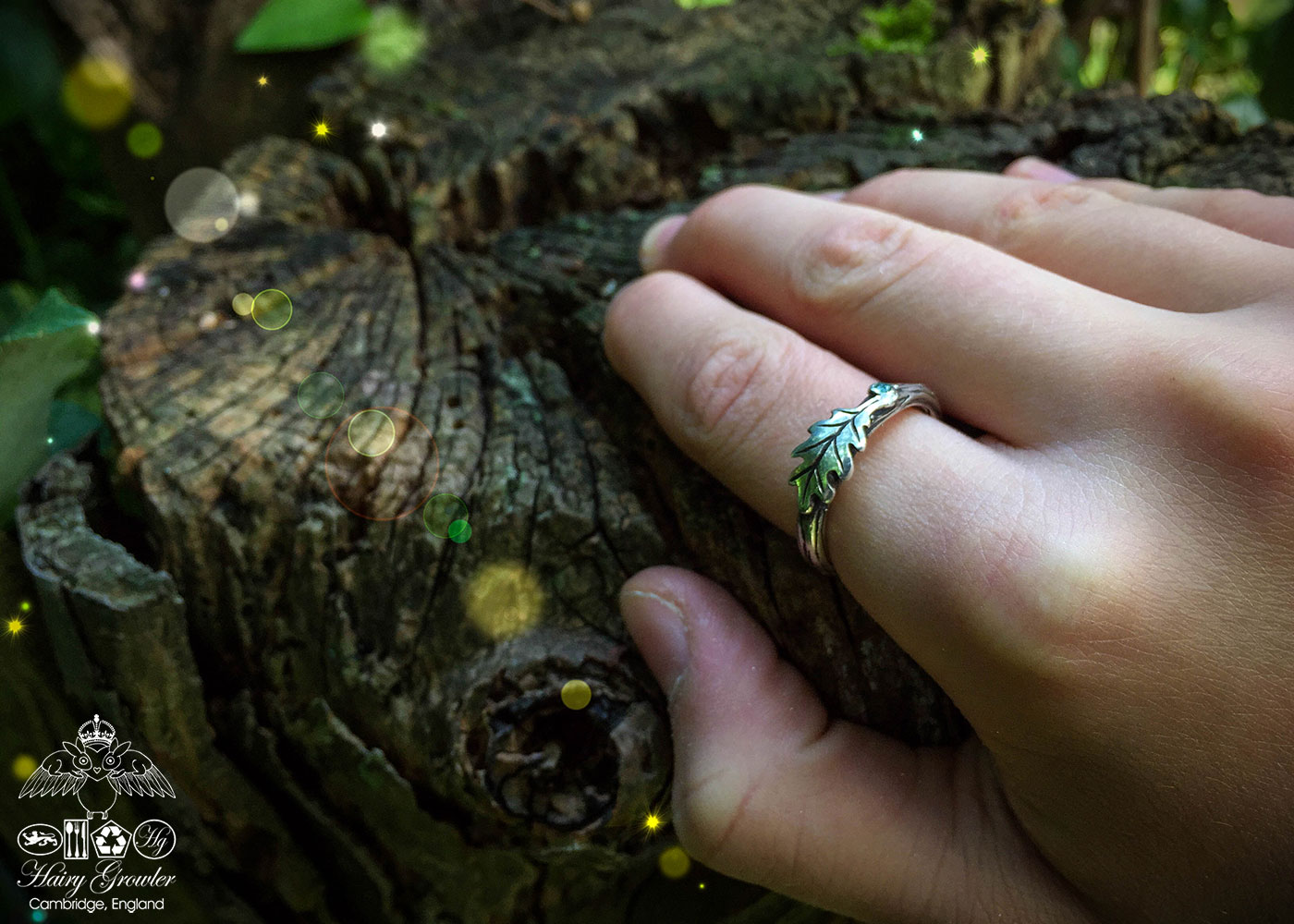 Tree of life collection oak leaf and branch ring handmade and upcycled silver