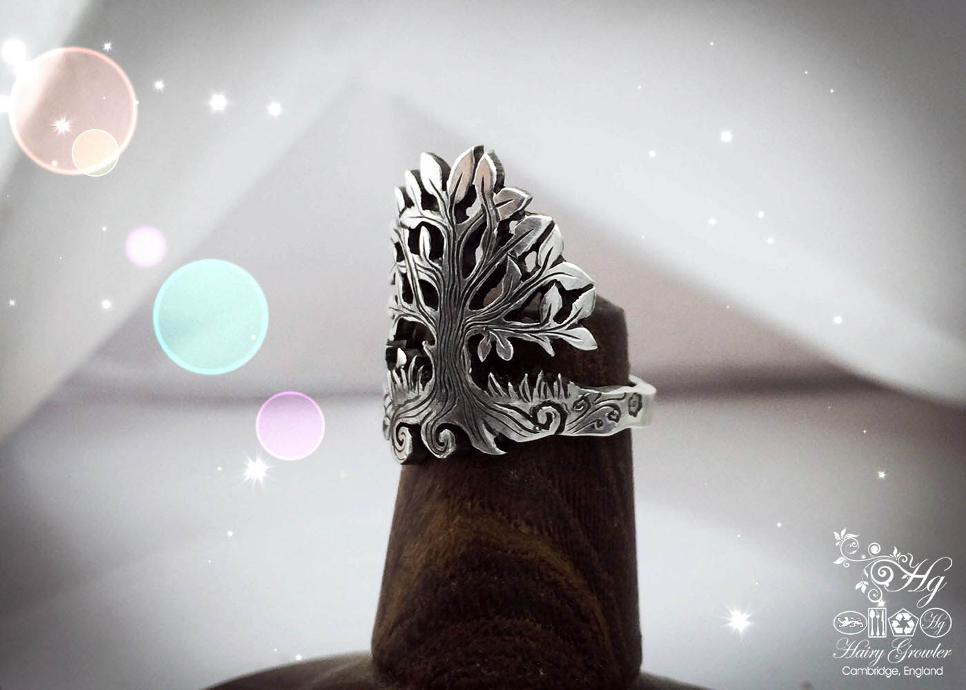 handcrafted and recycled silver teaspoon tree ring