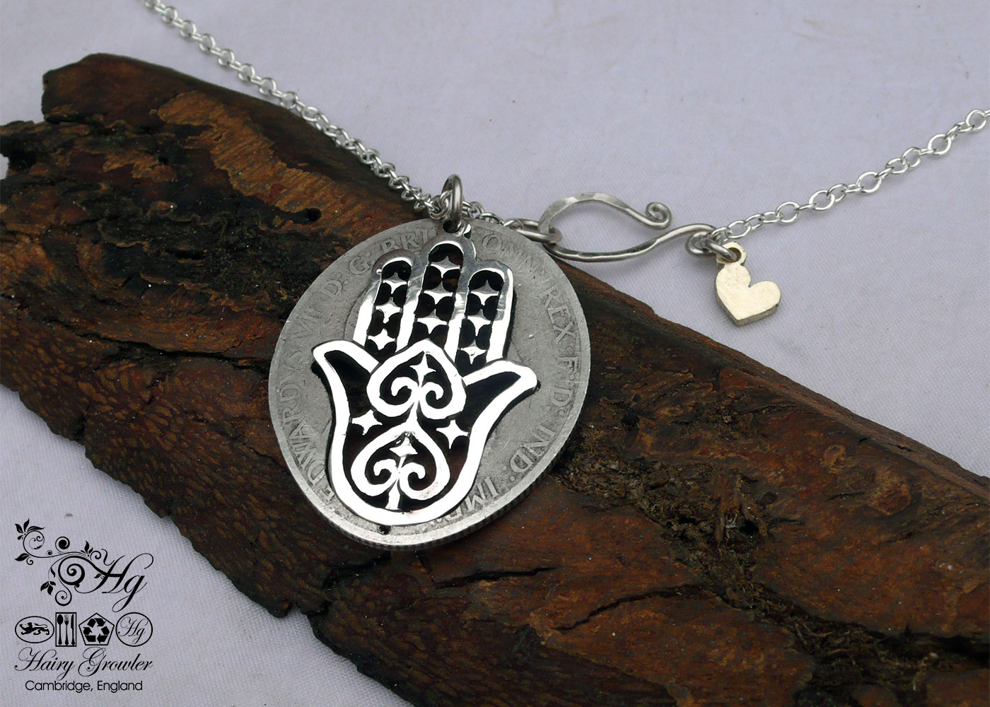 Hand of Hamsa / Fatima silver pendants - handmade and recycled using silver coins. khmissa
