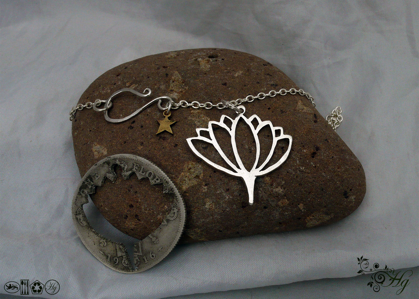 Lotus flower silver pendants - handmade and recycled using silver coins
