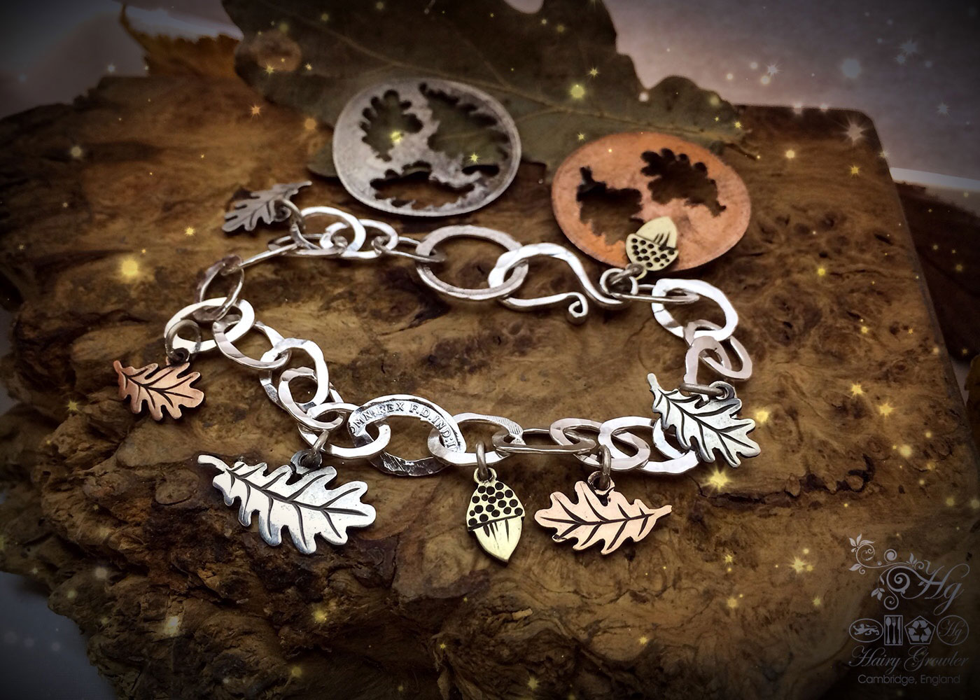 handcrafted sterling silver Oak leaf and acorns bracelet made from coins