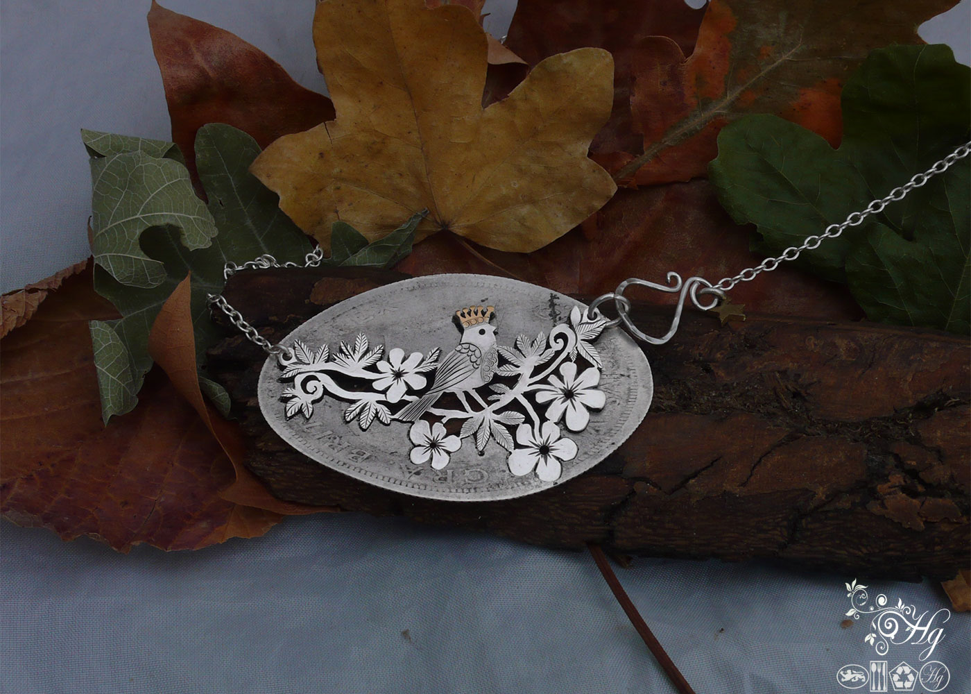Handcrafted and recycled sterling silver half crown queen tweet necklace