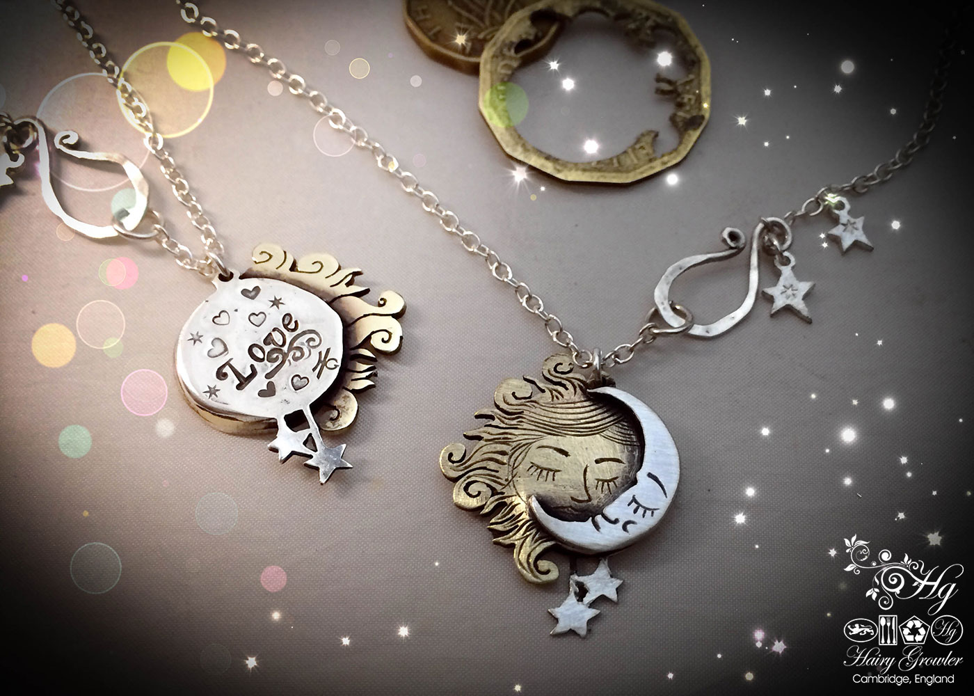 Handmade and upcycled silver coins made into a beautiful artisan sun and moon lovers necklace