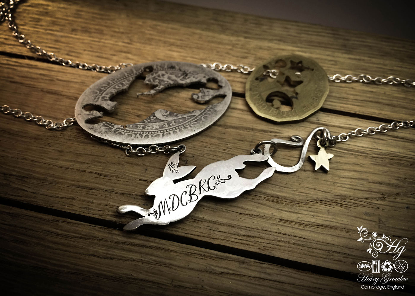 Handcrafted and recycled sterling silver magical leaping hare necklace