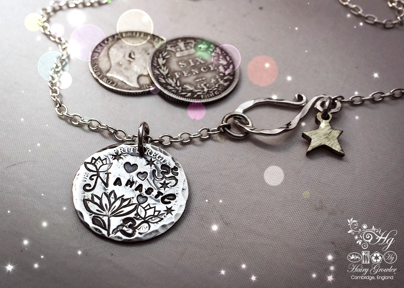 Nameste silver kundalini yoga necklace - handmade and recycled using sixpences