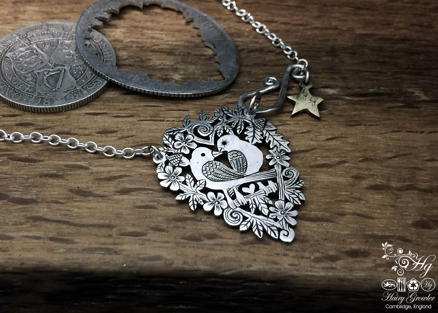 Handmade and upcycled sterling silver sweet lovebirds necklace