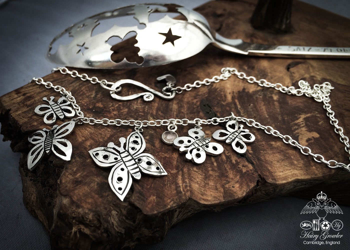 Butterfly necklace handcrafted and recycled from an antique silver spoon