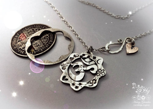 Om silver pendants - handmade and recycled using silver coins