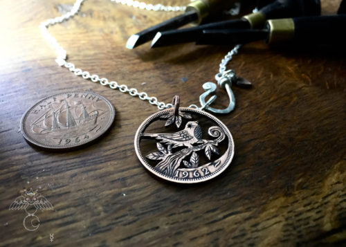 Bird coin necklace - handmade and recycled Half Penny jewellery