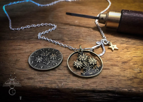Edelweiss coin jewellery - necklace pendant handmade and recycled Austrian Shilling coin.