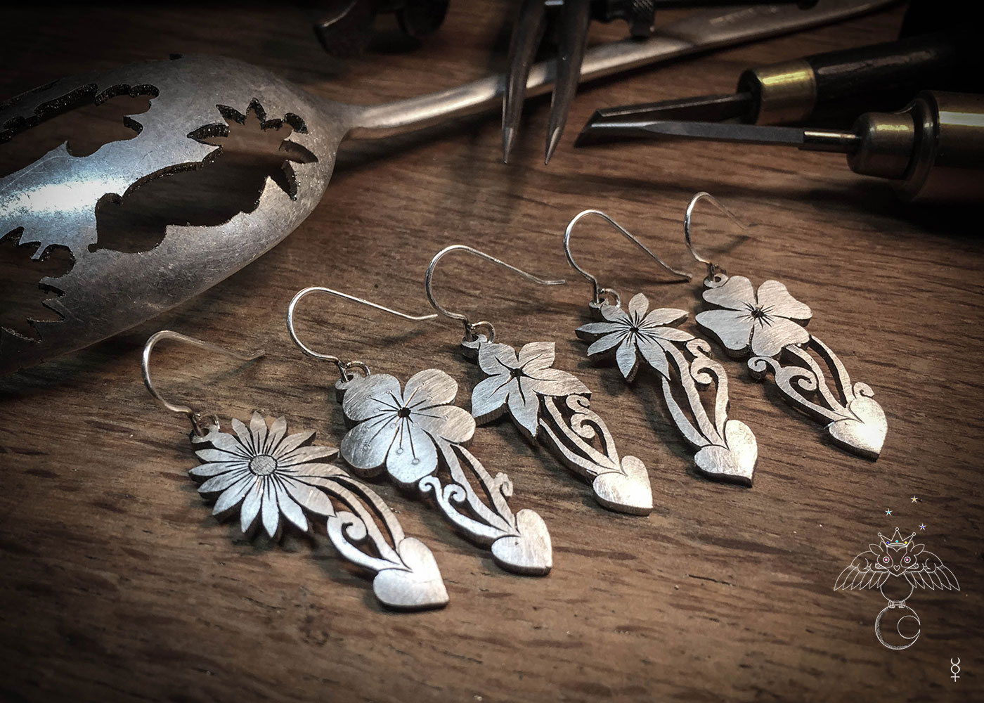 Flower earrings beautifully handcrafted from reused antique spoons by ethical independent jeweller, Hairy Growler.