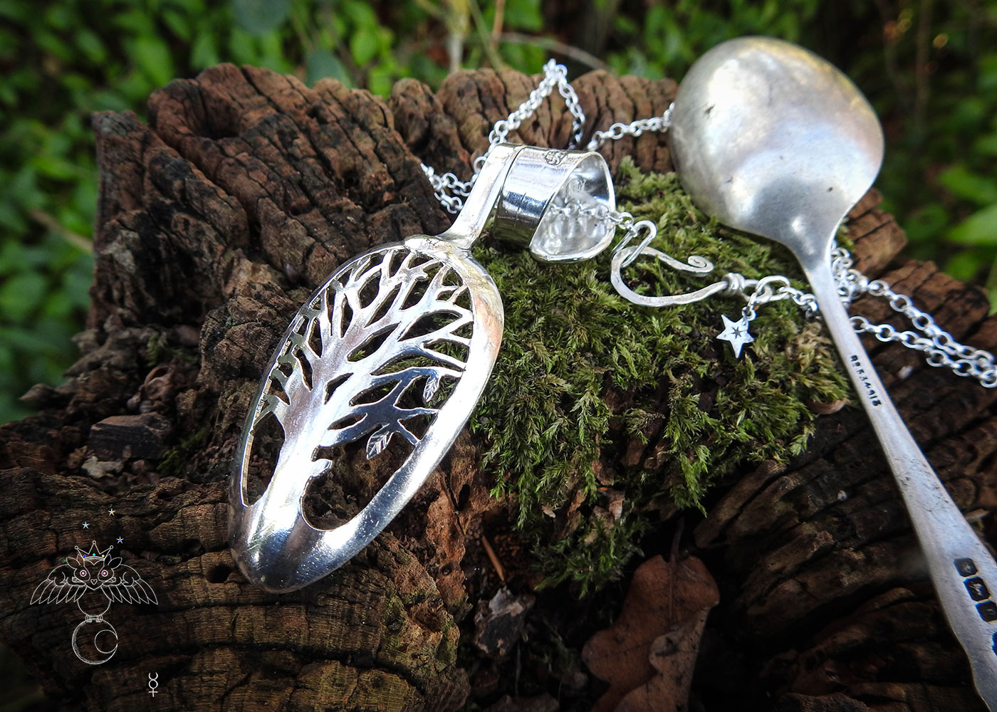 Tree of life spoon jewelry - handmade and recycled silver Victorian teaspoon