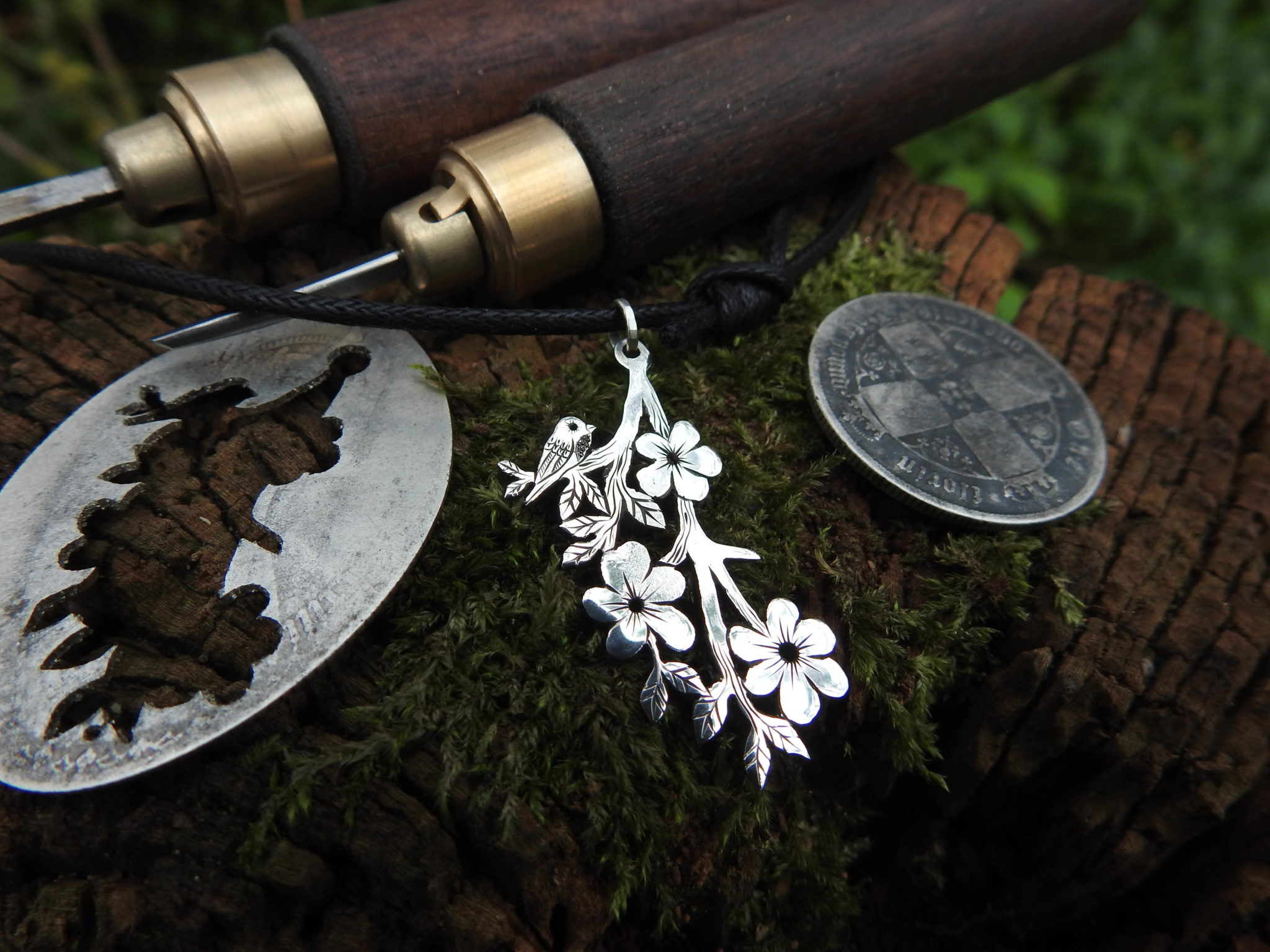 Beckoning the Seed Moon silver bird necklace - Recycled silver Florin