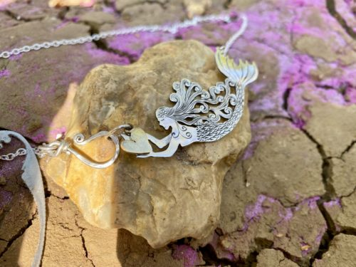 Mermaid necklace - Ethically handmade and Recycled silver Half-Crown coin