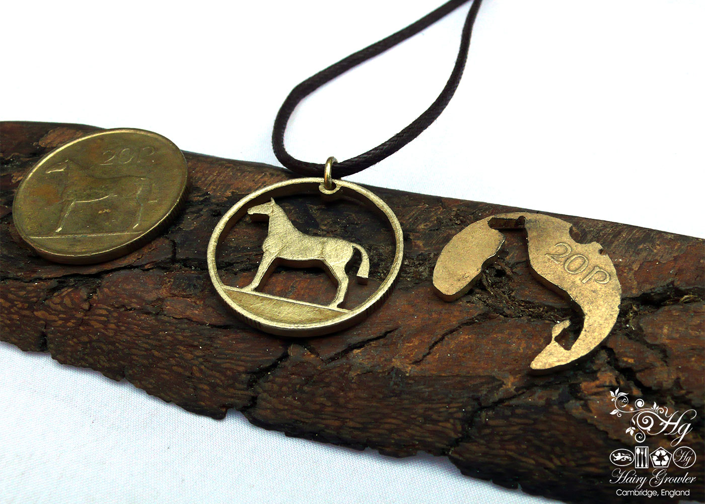 Handcrafted and recycled irish hunter horse coin pendant necklace