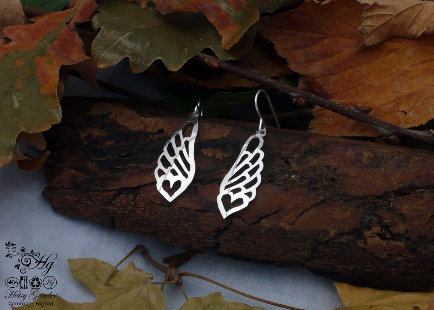 angel wings handmade and upcycled spoon bird earrings