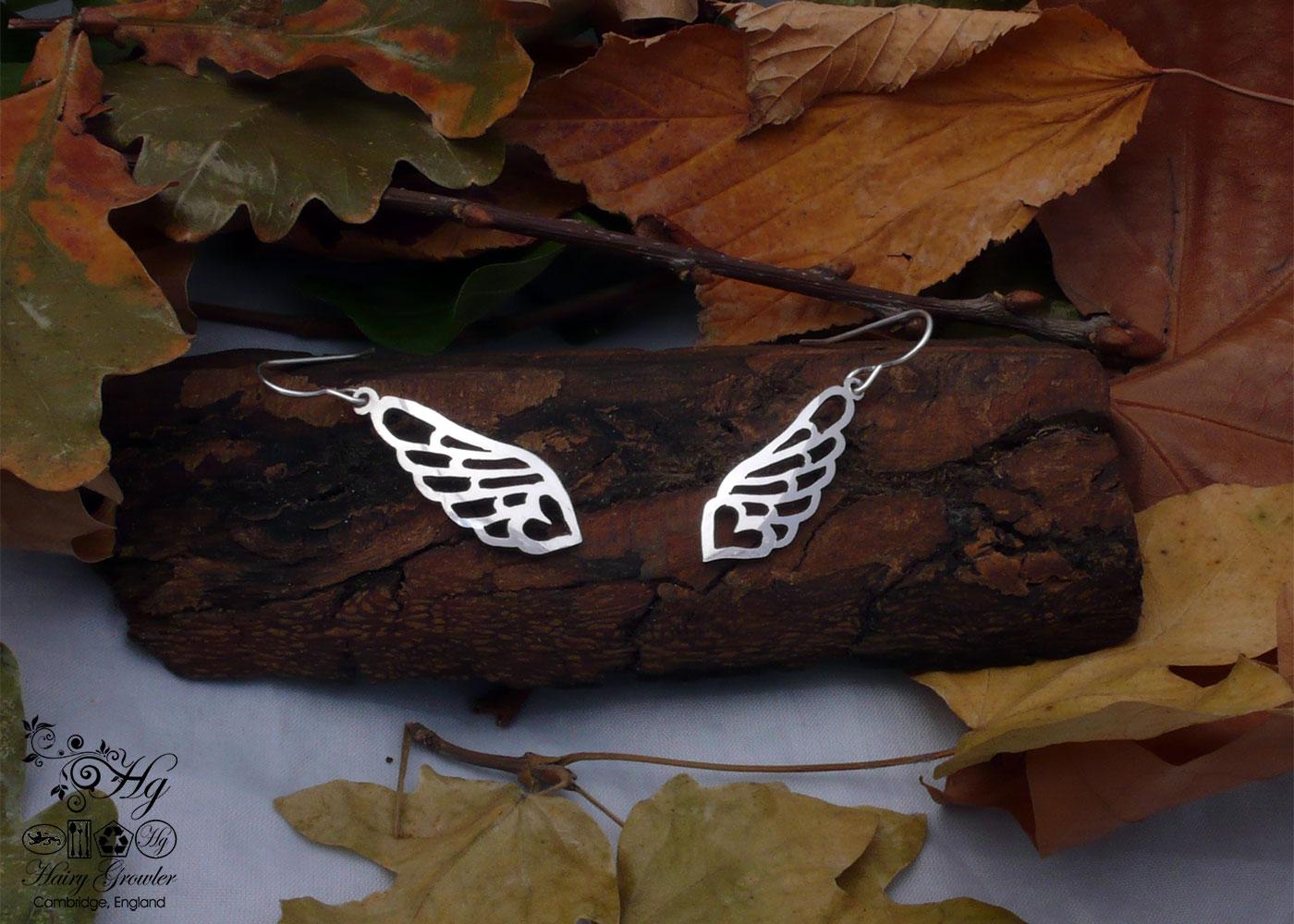 angel wings handmade and recycled spoon bird earrings