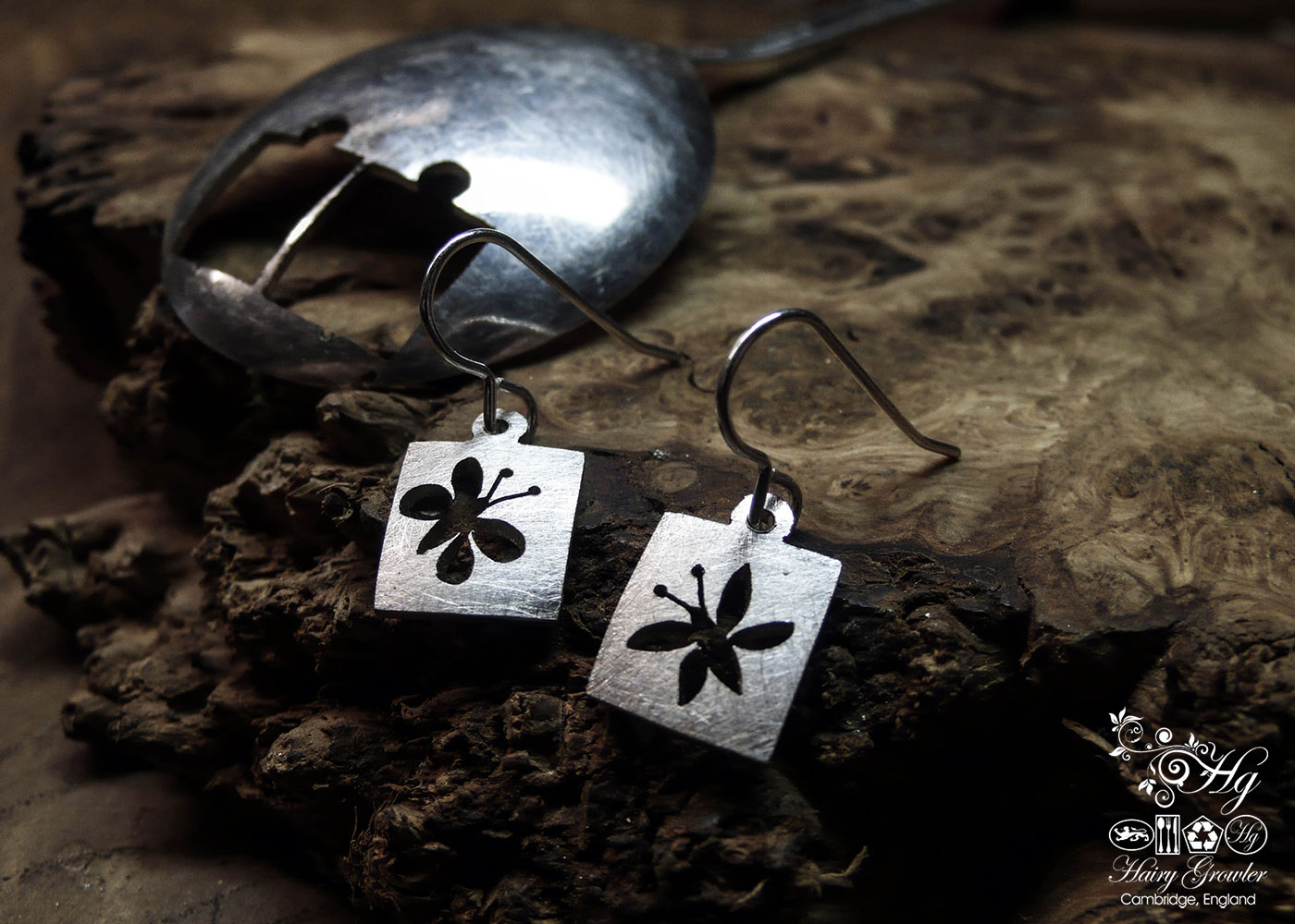 handcrafted and recycled spoon butterfly earrings