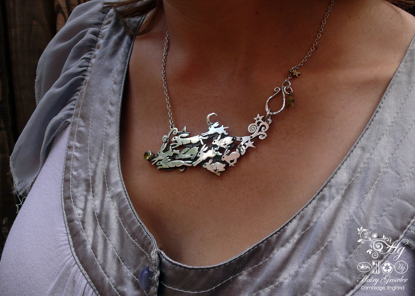 bespoke, original and unique rabbit and hare silver jewellery handmade and recycled