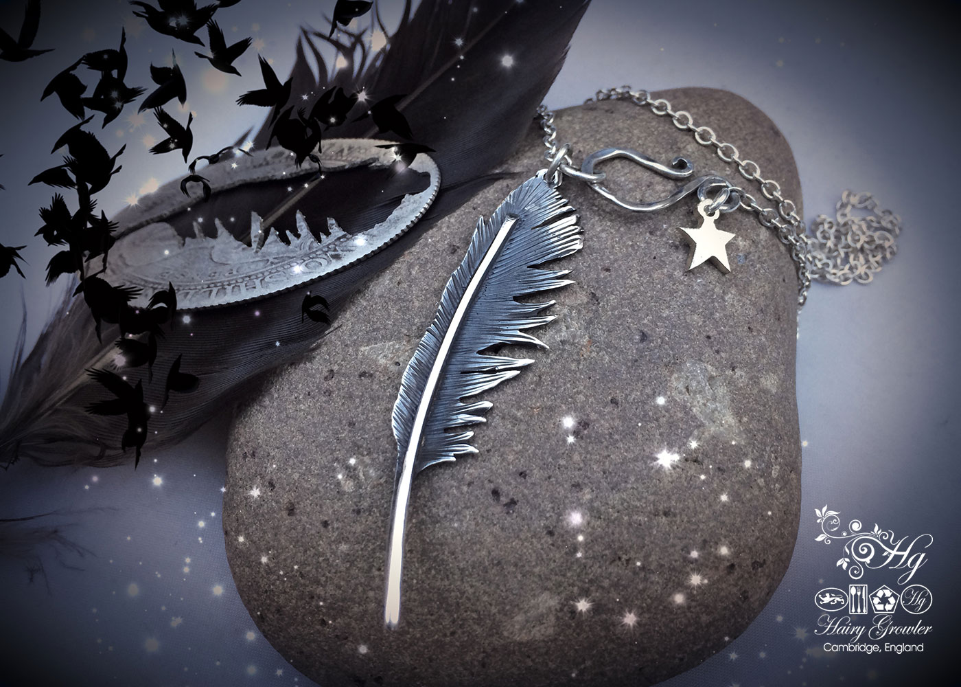feather necklace handmade and recycled silver