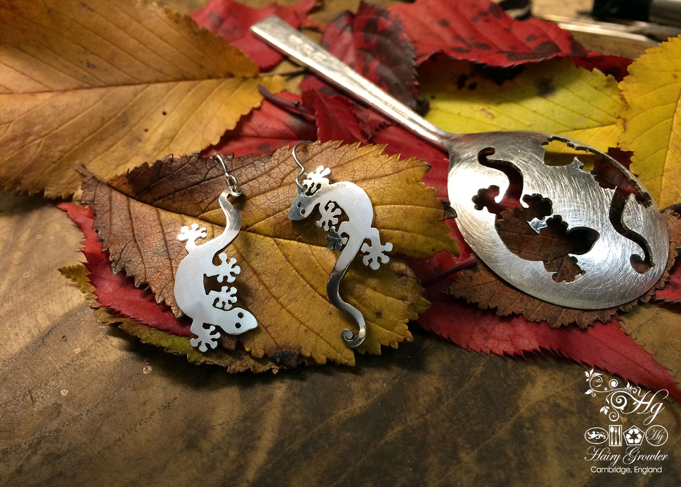 handcrafted and recycled spoon gecko earrings